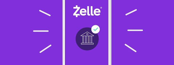 Graphic of mobile device with Zelle logo.
