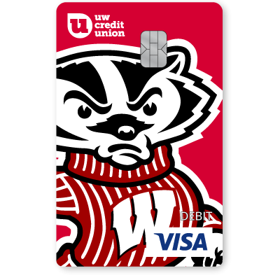 UW Credit Union University of Wisconsin Bucky Debt Card.