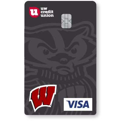 Get your UW Credit Union Bucky Badger Credit Card from Visa, exclusively at UWCU.
