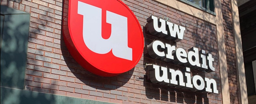 The UW Credit Union Sign at the State Street Madison, WI branch.