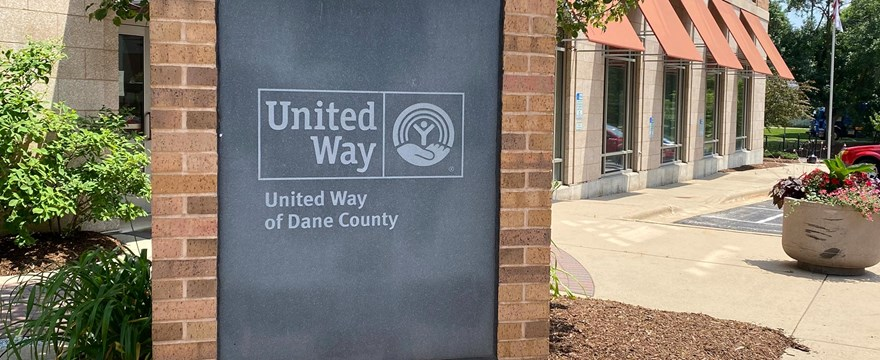 Sign in front of the United Way of Dane County building in Madison, WI.