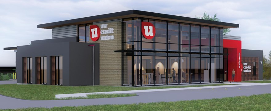 A rendering of the exterior of the Franklin UW Credit Union branch, set to open May 5.